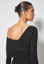 VELVET - Asymmetric rib knit midi dress - black
