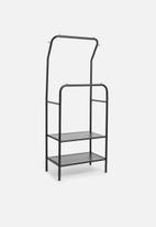 Sixth Floor - Iron cloth rack with mesh shelves - black