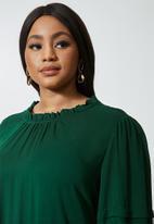 VELVET - Peached pintuck babydoll dress with pie crust neckline - green
