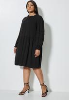 VELVET - Peached pintuck babydoll dress with pie crust neckline - black