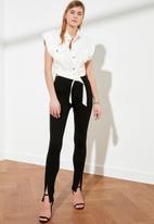 Trendyol - Slit interlock knitted trousers - black