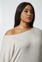 VELVET - Off the shoulder drapped dress - taupe