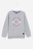 Aca Joe - Pre-girls brushed fleece sweater - grey