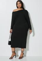 VELVET - Off the shoulder drapped dress - black