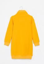 Aca Joe - Big-girls fleece dress - mustard