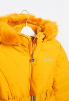Aca Joe - Big-girls longer length puffer jacket - mustard