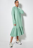 Superbalist - Cosy dropped waist dress with tier - sage