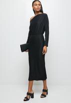 MILLA - Brushed knit slashed neck dolman bodycon dress - black