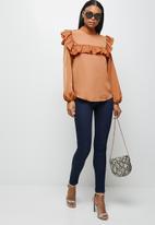 MILLA - Peached woven turtleneck blouse - maple