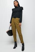 MILLA - Peached woven ruffle trim turtleneck blouse-black