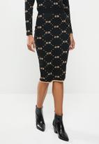 SISSY BOY - Babette: knit skirt with glitter repeat logo - black