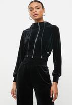 SISSY BOY - Cozy velvet crop zip through - black
