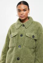 Missguided - Longline borg jacket - sage