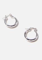 Rubi - Premium huggie hoop - sterling silver small tubular