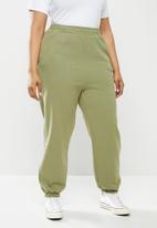 Cotton On - Curve classic high waist track pant - soft moss