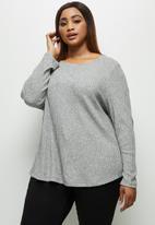 edit Plus - Long sleeve crew neck longline tee - light grey