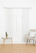 Sixth Floor - Squares eyelet unlined curtain - white & black