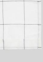Sixth Floor - Squares taped unlined curtain - white & black