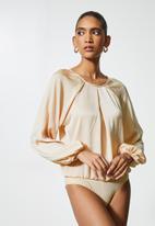 VELVET - Satin inverted pleated combo bodysuit - beige