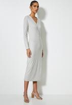 VELVET - Brushed cut & sew henley longline cardi dress - taupe