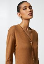 VELVET - Brushed cut & sew henley longline cardi dress - brown