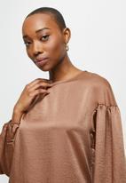 MILLA - Dropped shoulder blouse - brown