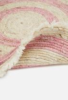 H&S - Round corn leaf rug - pink