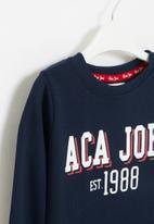 Aca Joe - Big-girls crew neck fleece dress - navy