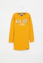 Aca Joe - Pre-girls crew neck fleece dress - mustard