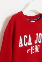 Aca Joe - Pre-girls crew neck fleece dress - red