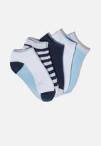 Cotton On - Kids 5 pack ankle socks - navy & grey