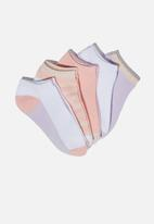 Cotton On - Kids 5 Pack ankle socks - pink & lilac