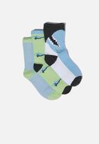 Cotton On - Kids 3 pack crew socks - blue & green