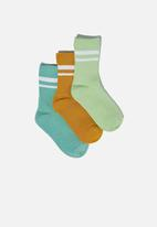 Cotton On - Kids 3 pack crew socks - green & mustard