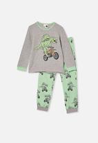 Cotton On - Noah long sleeve pyjama set - grey & green
