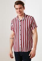 Trendyol - Stripe short sleeve shirt - red