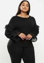 Me&B - Plus combo tee with textured - black