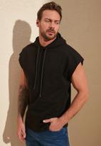 Trendyol - Hooded fleece tanktop - black