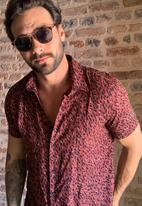Trendyol - Printed short sleeve shirt - burgundy