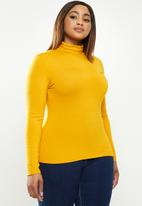 POLO - Plus brixton long sleeve second skin polo tee - mustard