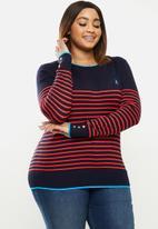 POLO - Plus Elena breton stripe sweater - navy & red