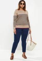 POLO - Plus Elena breton stripe sweater - camel & navy