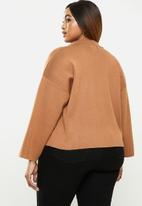 POLO - Plus Hillary cropped relaxed knit jacket - camel