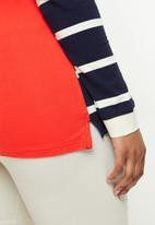 POLO - Plus Cassidy long sleeve stripe stretch golfer - orange & navy