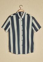 Trendyol - Thick stripe short sleeve shirt - navy & white