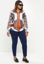 POLO - Plus Sibongile long sleeve printed shirt - orange & blue