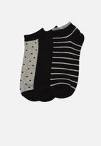 Trendyol - Patterned 3 pack ankle socks - black & grey