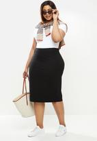 POLO - Plus Caty stretch pencil skirt - black