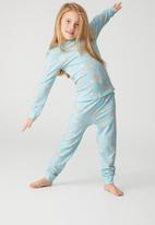 Cotton On - Florence long sleeve pyjama set - llama rainbow ballerina dream blue