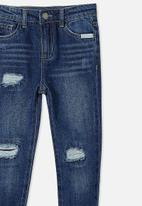 Cotton On - India slouch jean - midnight wash/rips/message